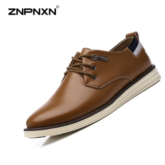 ZNPNXN Men'S Shoes Fashion Trends Genuine Leather Air Permeable Business Casual Shoes Men'S Shoes High Quality ShoesBrown - intl