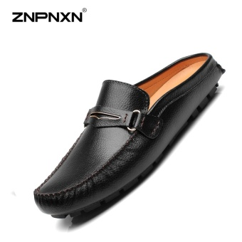 ZNPNXN Men'S Shoes Leather Head Half Drag Metal Buckle Shoes Mens Shoes Casual Fashion Loafers Men Sapato Masculino Size 38-44 Yards Black - intl