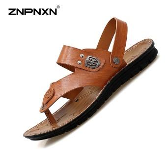 ZNPNXN Men'S Shoes Summer Men'S Super Fiber Sandals PU Bottom Beach Shoes Mens Shoes Fashion High End Leisure Sports Sandals Size 38-43 Yards Yellow & Brown - intl