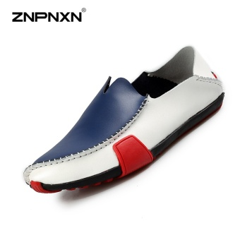 ZNPNXN Men'S Shoes Driving Shoes Fashion Leather Shoes Comfortable And Breathable Mens Shoes Casual Peas Shoes Size 39-44 Yards Blue - intl