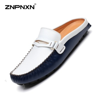 ZNPNXN Men'S Shoes Leather Head Half Drag Metal Buckle Shoes Mens Shoes Casual Fashion Loafers Men Sapato Masculino Size 38-44 Yards Dark blue - intl