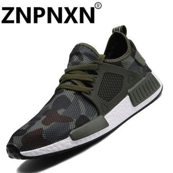 ZNPNXN The New Summer Outdoor Walking Shoes Sport Shoes Breathable Camouflage Soft Soled Running Shoes Set Foot Shoes Cushioning Male Shockproof Sole Sneakers Trainer Shoes Korean Tide Elastic Cloth ShoesGreen