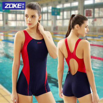 Zoke sexy women backless racing swimming clothing one-piece swimsuit (116601416-4 red)