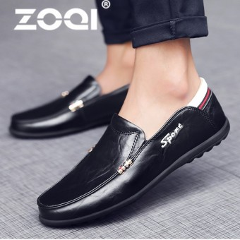 ZOQI Big Size 38-47 Men Leather Flats Shoes Spring Summer Men's Boat Shoe Casual Loafers Elegant Moccasin Leisure - intl