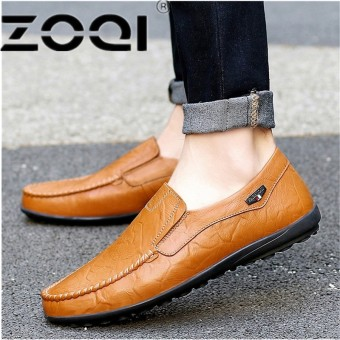 ZOQI Big Size 38-47 Men Shoes Luxury Brand Braid Leather Casual Driving Oxfords Shoes Men Loafers Moccasins Italian Shoes For Men Flats - intl