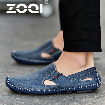 ZOQI Big Size 38-47 Slip On Casual Men Loafers Spring And Autumn Men's Moccasins Shoes PU Soft Flats Shoes - intl