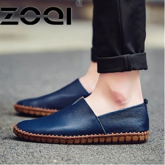 ZOQI Big Size 38-50 Slip On Casual Men Loafers Spring And Autumn Men's Moccasins Shoes PU Soft Flats Shoes - intl