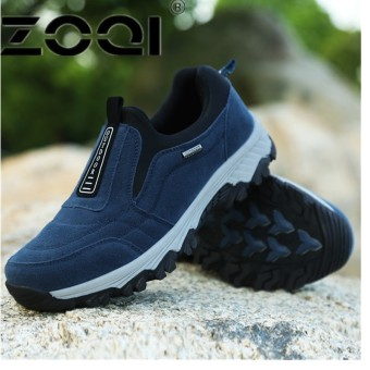 ZOQI Casual Men Shoe Slip On Flat Male Old Loafers Flock Walking Shoes Zapatos Gommino Driving Shoes Rubber Father Shoes MoccasinsDark Blue - intl