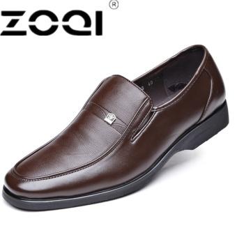 ZOQI New Slip-On Men Formal Shoes Basic Dress Shoes Genuine Leather Shoes Men Fashion Crocodile Grain Men Flats