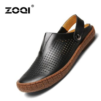 ZOQI Fashion Hollow leather Sandals Casual Shoes Black - intl