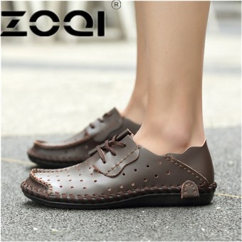 ZOQI Italian Men Dress Shoes Genuine Leather Lace Up Man Formal Shoes Breathable Hollow Out FootwearDark Brown - intl