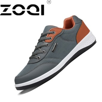 ZOQI Lace-up Round toe Flat heel Formal Daily Leisure Rubber Youth Breathable Men's Shoes Grey - intl
