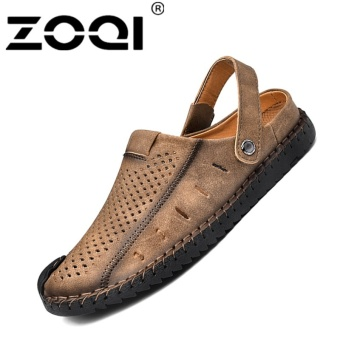 ZOQI Men's Fashion Casual Beach Shoes Summer Sandals Slipper(Khaki) - intl