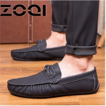 ZOQI Men's Flats Casual Comfortable Driving Shoes Genuine Leather Loafers For Men Shoes moccasins Summer Men's FootwearBlack - intl