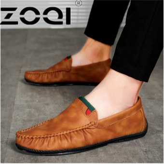 ZOQI Men's Flats Casual Comfortable Driving Shoes Genuine Leather Loafers For Men Shoes moccasins Summer Men's FootwearBrown - intl