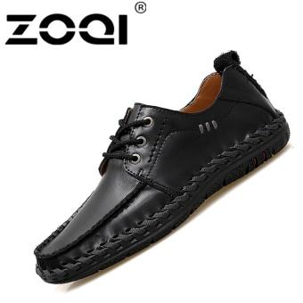 ZOQI Men's Handmade Lether Business Formal Shoes Driving Shoe Black - intl
