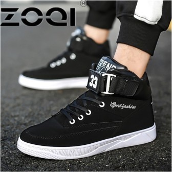 ZOQI Popular Running Shoes For Men Buckle High Side Men Sport Shoes Camouflage Cushioning Rubber Men SneakersBlack - intl