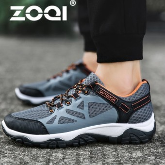 ZOQI Spring And Autumn Running Sneakers Sport Shoes Gym Trainers Mens Jogging Shoes Comfortable Sport Trainers MenGrey&Orange - intl