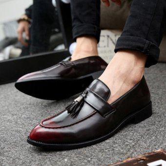 ZORO New Men Leather Shoes Casual Fashion England Pointed Toe Men Shoes Red - intl