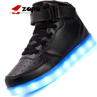 ZORO Original New Arrival Men Casual Colorful Led Luminous Shoes With Light Up USB Rechargeable For Adults - Black - intl