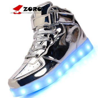 ZORO Original New Arrival Men Casual Colorful Led Luminous Shoes With Light Up USB Rechargeable For Adults - Silver - intl