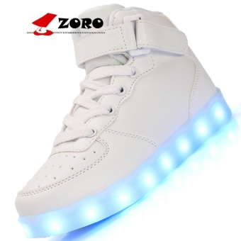 ZORO Original New Arrival Men Casual Colorful Led Luminous Shoes With Light Up USB Rechargeable For Adults - White - intl
