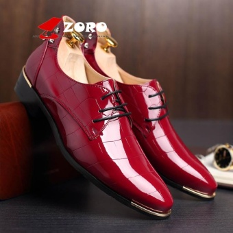 ZORO Plus Size EUR 37-48 Oxford Dress Shoes for Men - Formal Leather Shoes - Casual Classic Brogue Mens Shoes - Kasut Lelaki Kasut Kulit Rasmi Red - intl