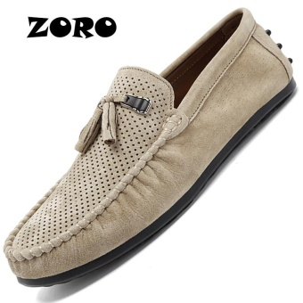 ZORO Summer Loafers Men Shoes Casual Genuine Leather Flats Shoes Soft Male Moccasins Breathable Gommino Driving Khaki - intl