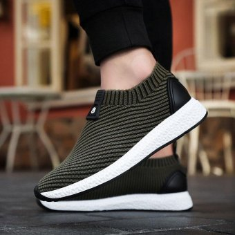 ZORO Athletic Men Sneakers Summer Breathable Mesh Sport Shoes For Men Outdoor Light Running Shoes Deep green - intl