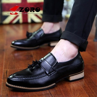 ZORO Fashion Genuine Patent Leather Men's Wedding Dress Shoes Formal Banquet Slip On Loafers With Tassel Black - intl