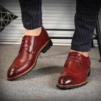 ZORO Genuine Leather Bullock Oxfords Shoes For Men Designer Luxury Men Shoes Red - intl