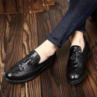 ZORO Handmade Pointed Toe Suede Matching Genuine Calf Leather Men's Oxford Shoe Black - intl