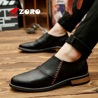 ZORO Men Leather Designer Men's Pointed Toe Dress Classic Formal Oxford Shoes For Men's Footwear Wedding Business High Quality Shoes Kasut Lelaki Black - intl