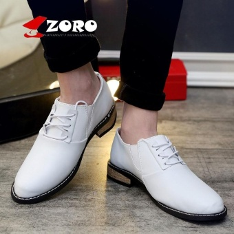 ZORO Men Shoes Genuine Leather Oxford Shoes For Men Oxfords British Style Men Casual Shoes Men's Fashion Shoes Kasut Lelaki White - intl
