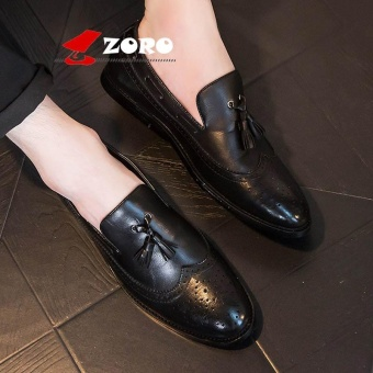 ZORO New Arrival Hot Men Business Casual Bullock Carved Leather Shoes Oxfords Kasut Lelaki Kasut Kulit Rasmi Black - intl