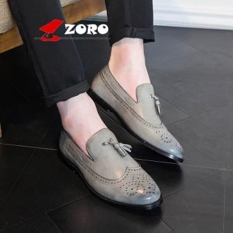 ZORO New Arrival Hot Men Business Casual Bullock Carved Leather Shoes Oxfords Kasut Lelaki Kasut Kulit Rasmi Grey - intl