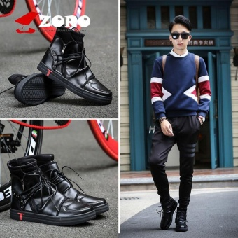 ZORO New Men Boots Arrival Shoes Basic High-TOP Ankle Genuine Leather Luxury Trainers Owen Boots Casual Lace-up Zip Flats Shoes Lelaki Lelaki Black - intl