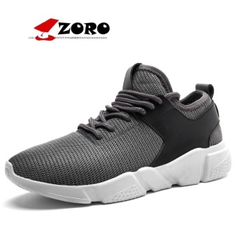 ZORO Original New Arrival Running Shoes Light Weight Mesh Sports Shoes Jogging Sneakers For Men Outdoor Flat Walking Trend Shoes Grey - intl