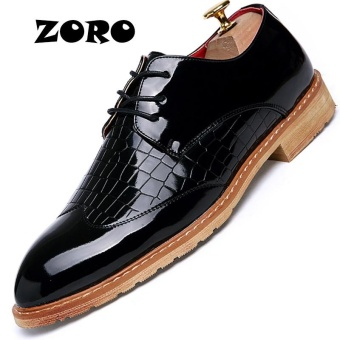 ZORO Plus Size 38-48 Genuine Leather Designer Formal Business Office Dress Men Shoes Classic Elegant Mens Casual Oxfords Black - intl