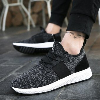 ZORO Running Shoes Mesh Breathable Outdoor Sports Jogging Textile Sneakers for Men Walking Shoes Black - intl