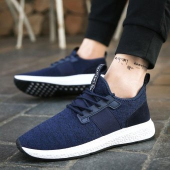 ZORO Running Shoes Mesh Breathable Outdoor Sports Jogging Textile Sneakers for Men Walking Shoes Navy blue - intl