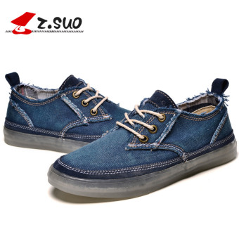Z.Suo Korean-style Youth Student trendy shoes men shoes canvas shoes Dark blue color