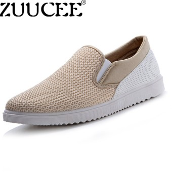 ZUUCEE Fashion Men Net Shoes Breathable Slip-Ons Shoes Casual Flats Loafers Slip Shoes khaki - intl