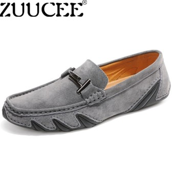 ZUUCEE Men Octopus Loafers Shoes Fashion Peas Shoes Hand Stitching Suede Driving Shoesgrey - intl