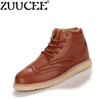 ZUUCEE Men Winter Trendy Bullock Fashion Boots High-top Shoesbrown - intl