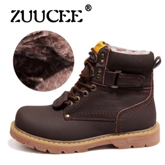ZUUCEE Men Work Boots Leather Ankle Boots Mens Fashion Shoes AutumnWinter Booties Waterproof Rain Boots Tooling Boots(dark brown) -intl Price Philippines