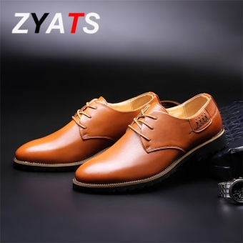 ZYATS New Arrival Genuine Leather Luxury Brand Men Casual Shoes High Quality Driving Soft Formal Shoes Brown - intl