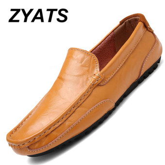 ZYATS New Casual Men Fashion Leather Shoes High-end Handmade Business Shoes Slip-Ons & Loafers
