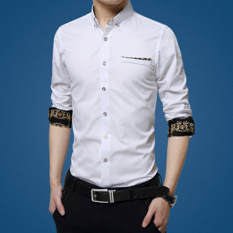 ZYSK Men Formal Long Sleeve Shirts White 17302