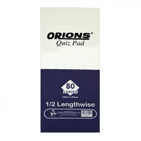 Image of Orions Writing Pad Quiz Pad Lengthwise by 3's